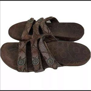 Orthaheel Snakeskin Sandals Slides Slip On Size 11